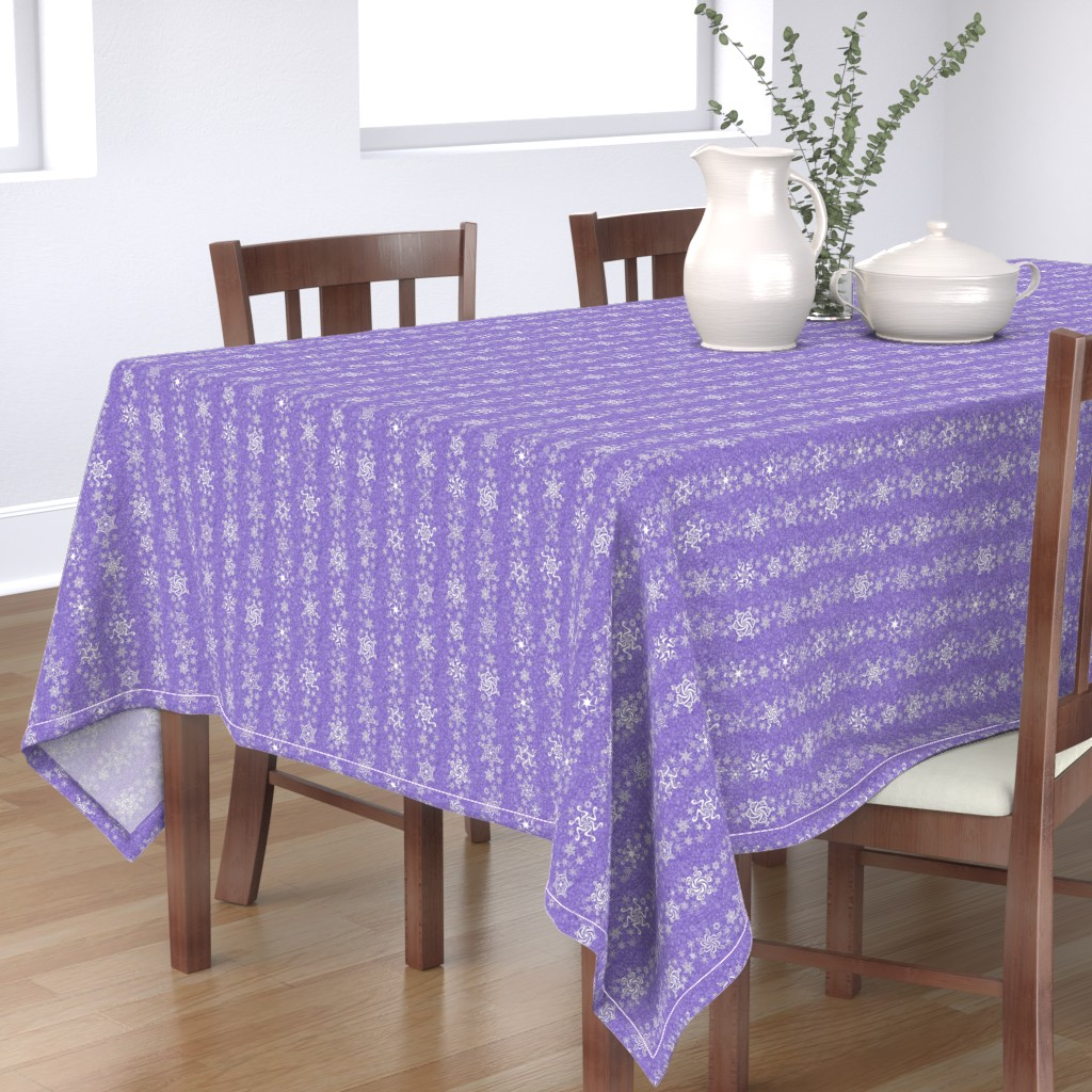 Bantam Rectangular Tablecloth featuring snowflake stripes - swirls on violet wisteria purple by sarahkdesigns