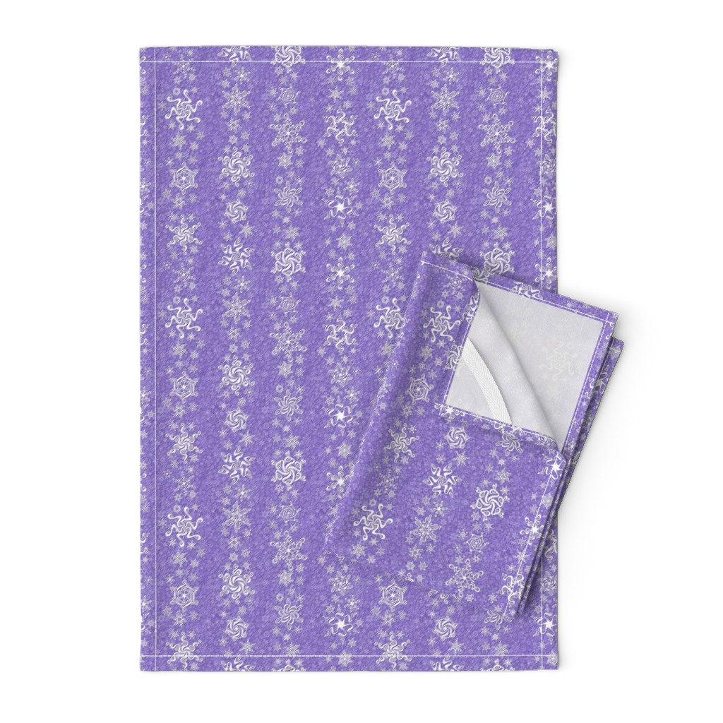 Orpington Tea Towels featuring snowflake stripes - swirls on violet wisteria purple by sarahkdesigns
