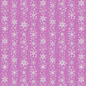 snowflake stripes - hearts on mauve pink