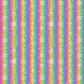 snowflake stripe - snowflakes on rainbow snowstorm