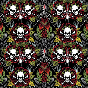 Skulls, Flowers, Rib Cage, and Spiders