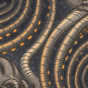 ★ KRAKEN ' ROLL ★ Slate Black - Jumbo Scale / Collection : Kraken ' Roll – Steampunk Octopus Print