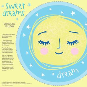 Sweet Dreams - Sleeping Moon Blue Cut & Sew Pillow