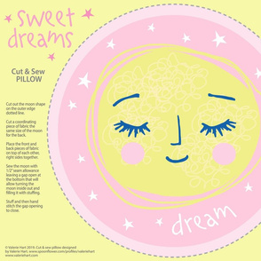 Sweet Dreams - Sleeping Moon Pink, Cut & Sew Pillow