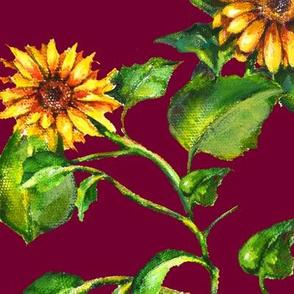 Sunflower Burgundy Large