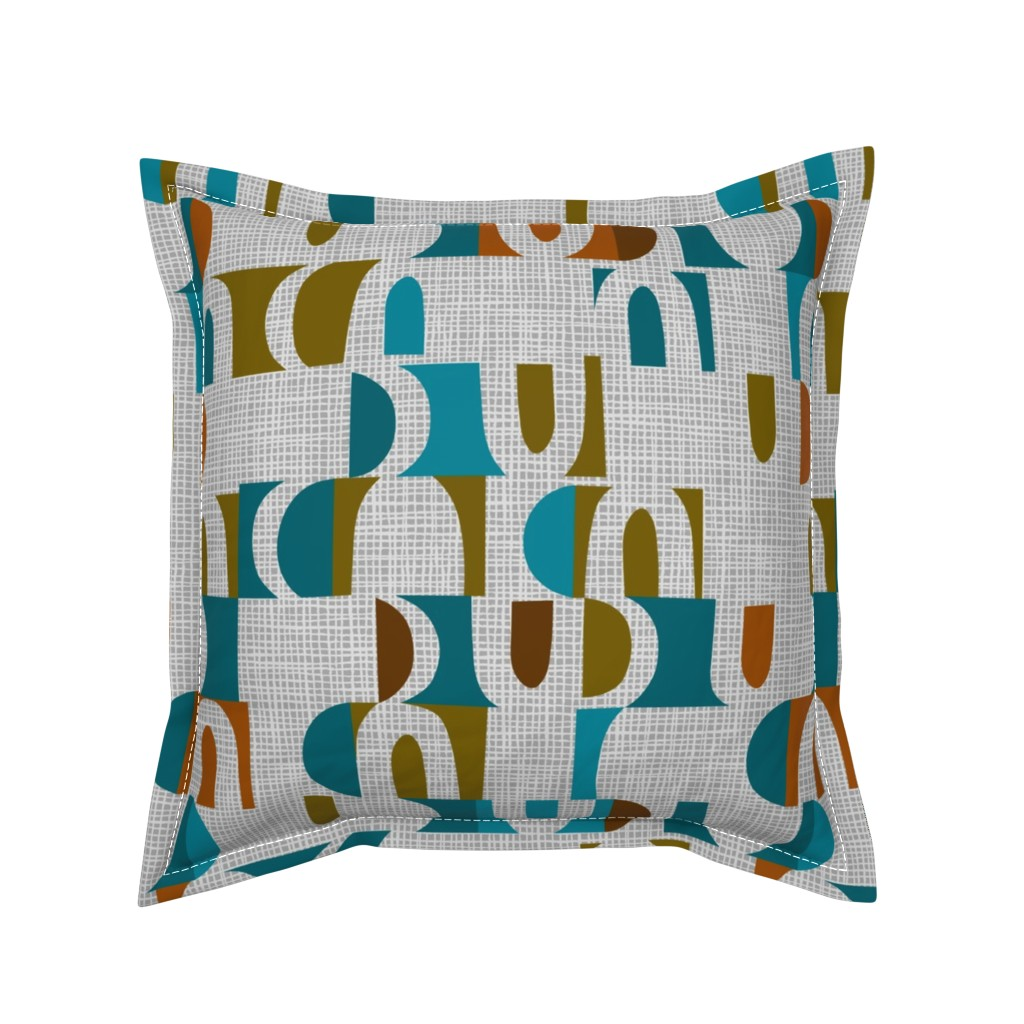 Serama Throw Pillow featuring scandi color block shapes  by ottomanbrim
