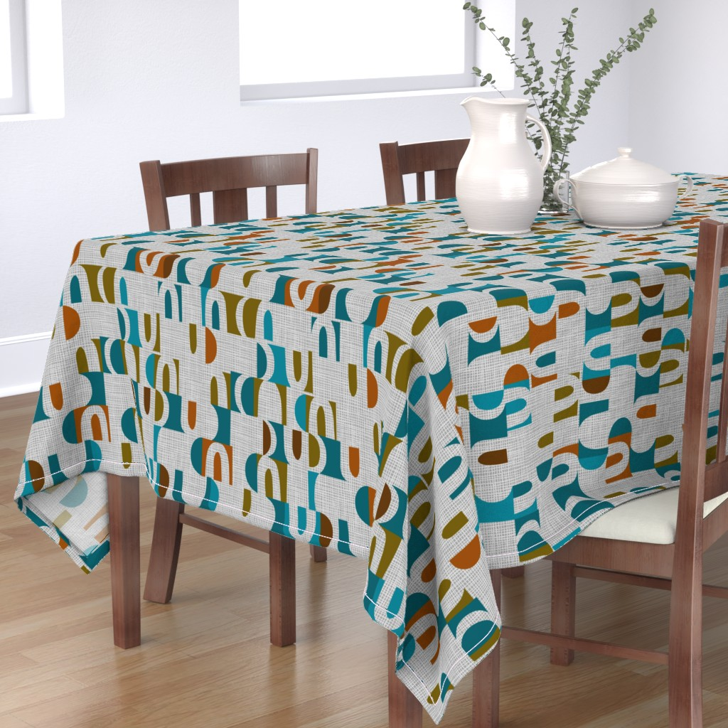 Bantam Rectangular Tablecloth featuring scandi color block shapes  by ottomanbrim