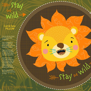 RAWR! - Stay Wild Lion - Cut & Sew Pillow Pattern