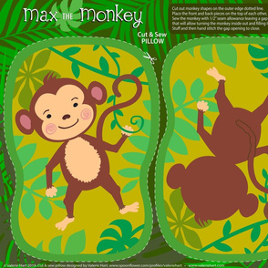 Max the Monkey - Cut & Sew Safari Plushie Pillow Pattern