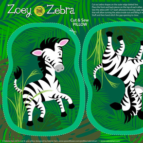 Zoey the Zebra - Cut & Sew Safari Plushie Pillow Pattern