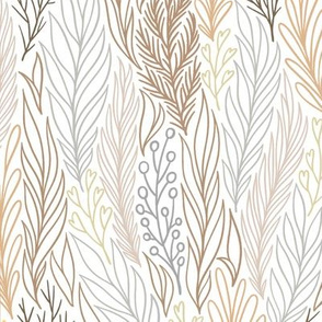 Earth Tone Neutral Leaf Design on White