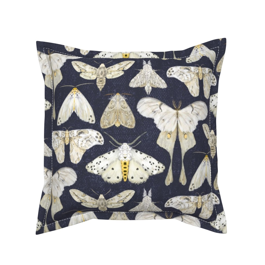 Serama Throw Pillow featuring Moth Migration on Midnight - medium scale by red_raspberry_design