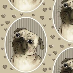 Love for pugs -beige big