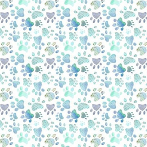 Paw prints - blue - smaller scale