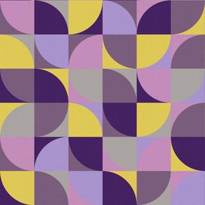 retro mod squares mustard yellow purple violet lavender