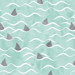Sharks! - shark fin - dark mint waves - beach - LAD19