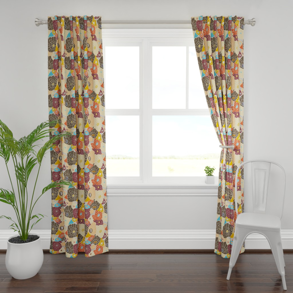 Plymouth Curtain Panel featuring Floral Mosaic Colorblock by tarakatedesigns