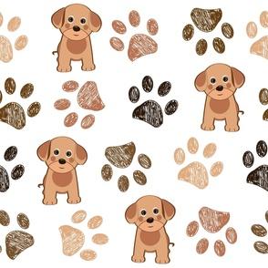 Cute Dog and Hand Drawn Paw Print Pattern