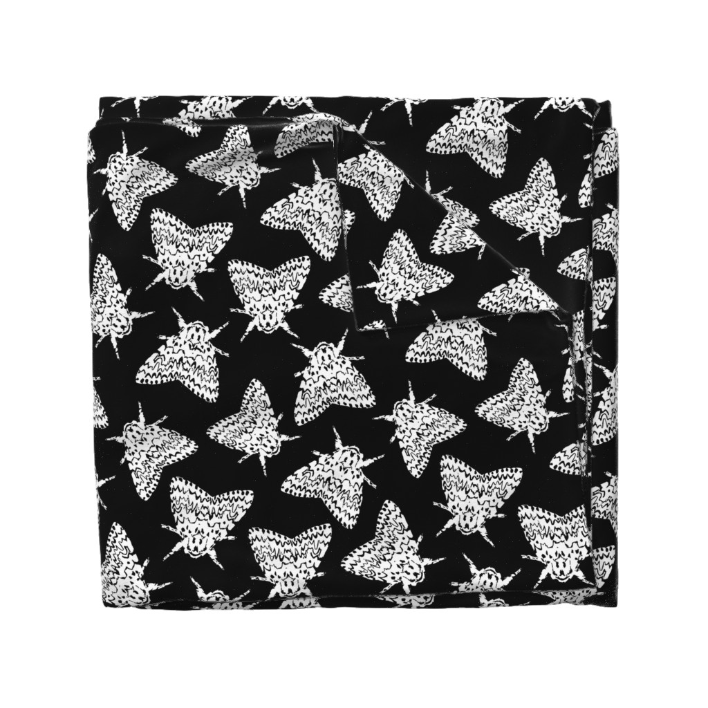 Wyandotte Duvet Cover featuring Black arches moths by daria_wallace