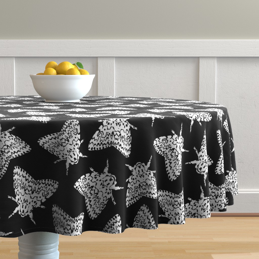 Malay Round Tablecloth featuring Black arches moths by daria_wallace