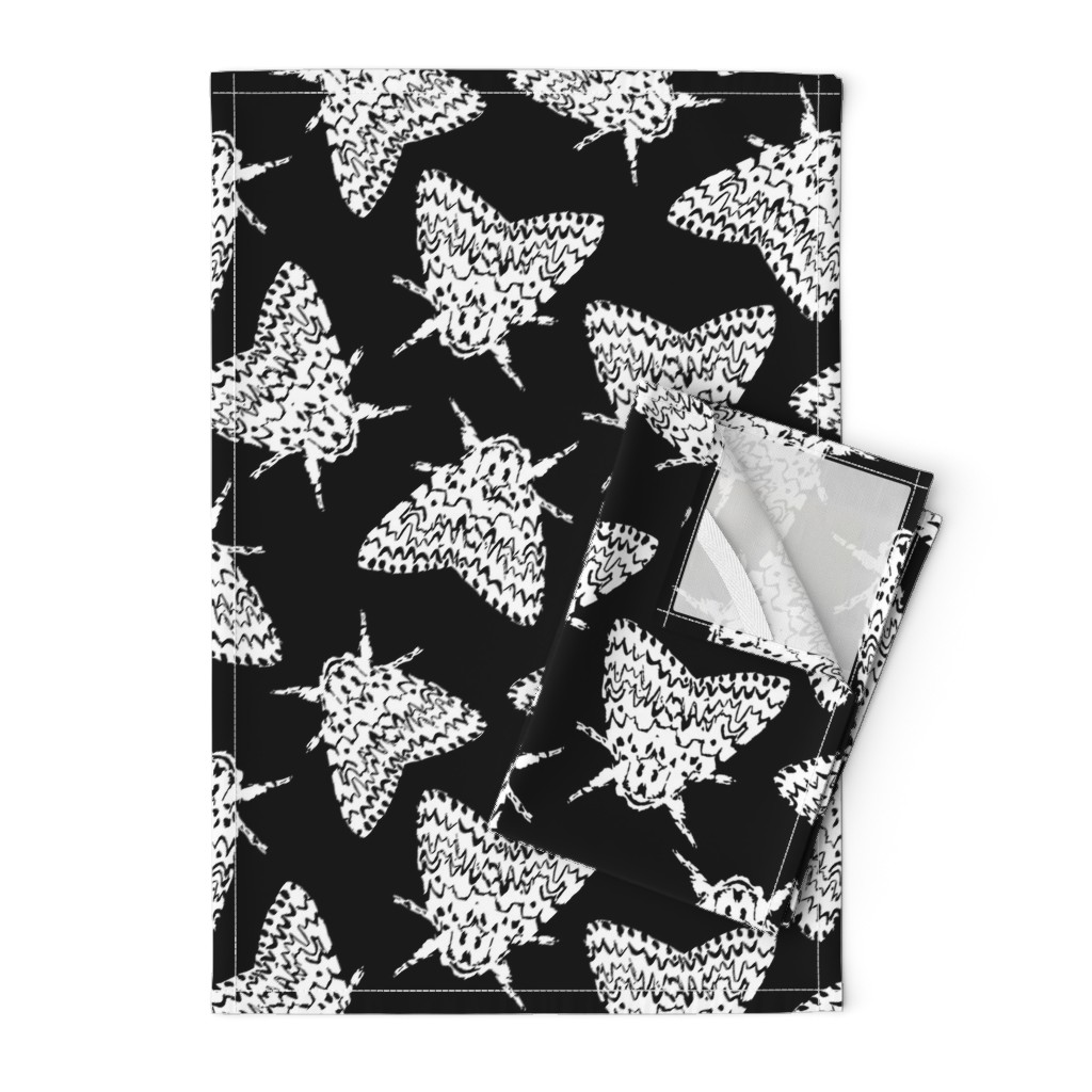 Orpington Tea Towels featuring Black arches moths by daria_wallace