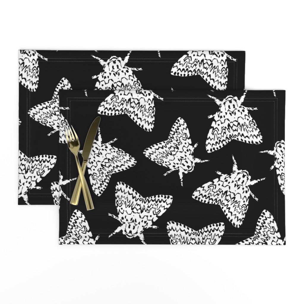 Lamona Cloth Placemats featuring Black arches moths by daria_wallace