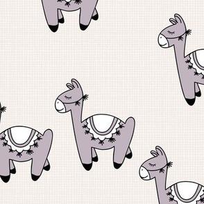 Kawaii Llama baby nursery sleepy alpaca wool animals on off white linnen autumn winter mauve girls