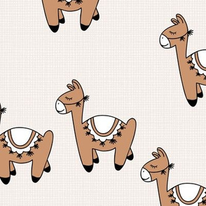 Kawaii Llama baby nursery sleepy alpaca wool animals on off white linnen autumn winter terra cotta copper neutral boys
