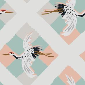 cranes across crossed stripes peach_sage_tan2