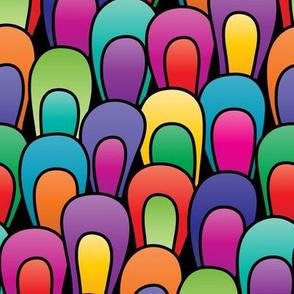 Gradient Rainbow Color Blocked Loops