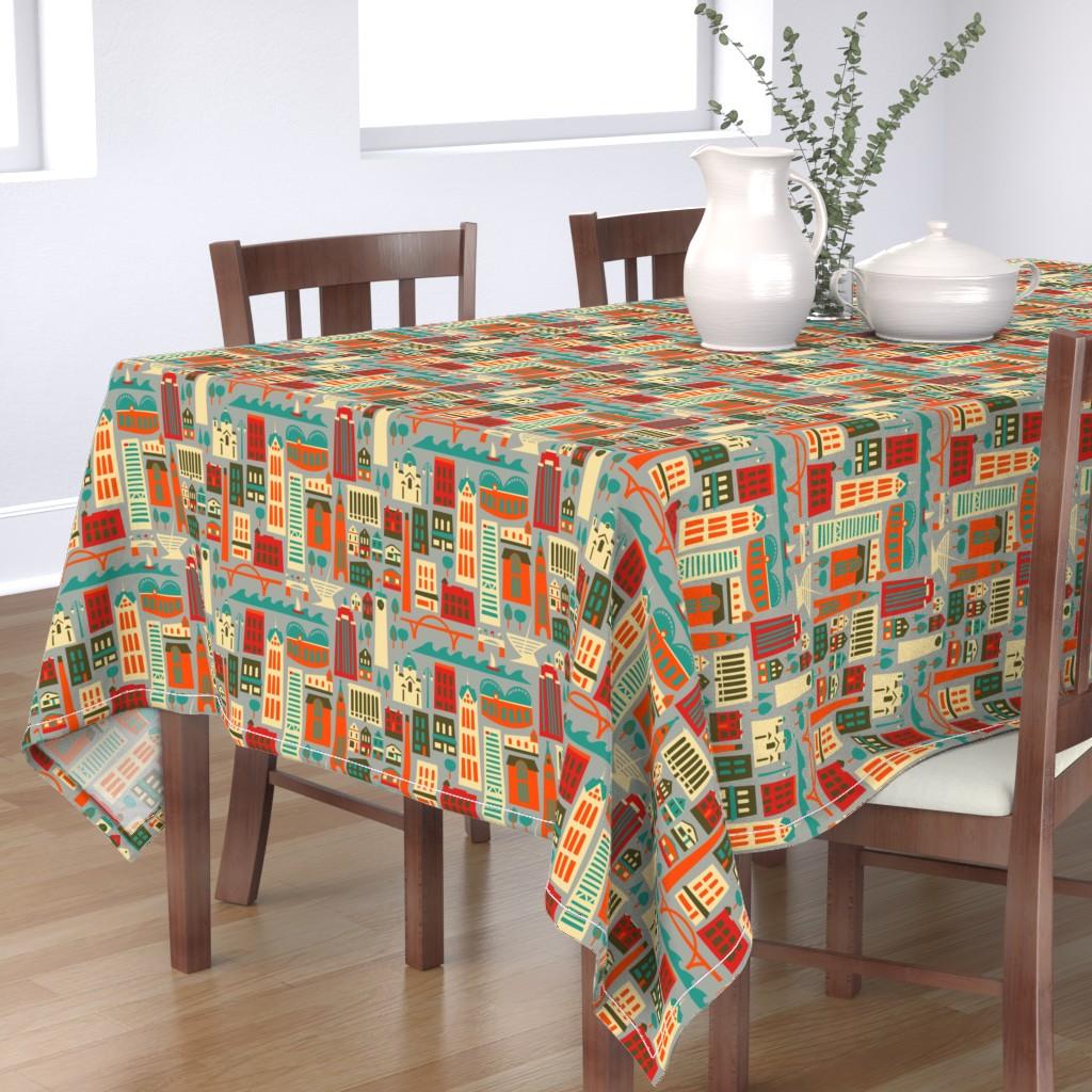 Bantam Rectangular Tablecloth featuring My Fair Milwaukee by allisonbeilkedesigns