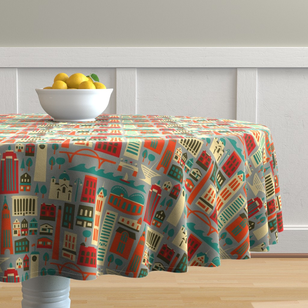 Malay Round Tablecloth featuring My Fair Milwaukee by allisonbeilkedesigns
