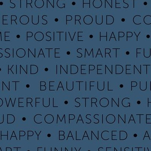 Strong sisterhood woman affirmations and empowerment text words type design navy blue
