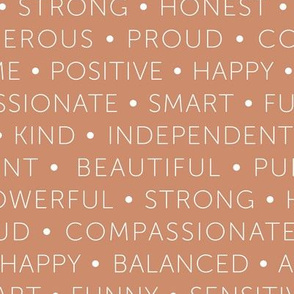 Strong sisterhood woman affirmations and empowerment text words type design terra cotta caramel