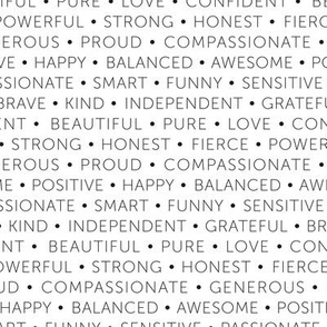 Strong sisterhood woman affirmations and empowerment text words type design black and white monochrome