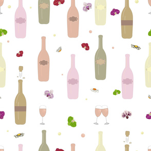 Colorful Champagne Bottle and Glass of Champagne With Orchid Pattern