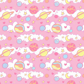 Original Cute Planets in Pink