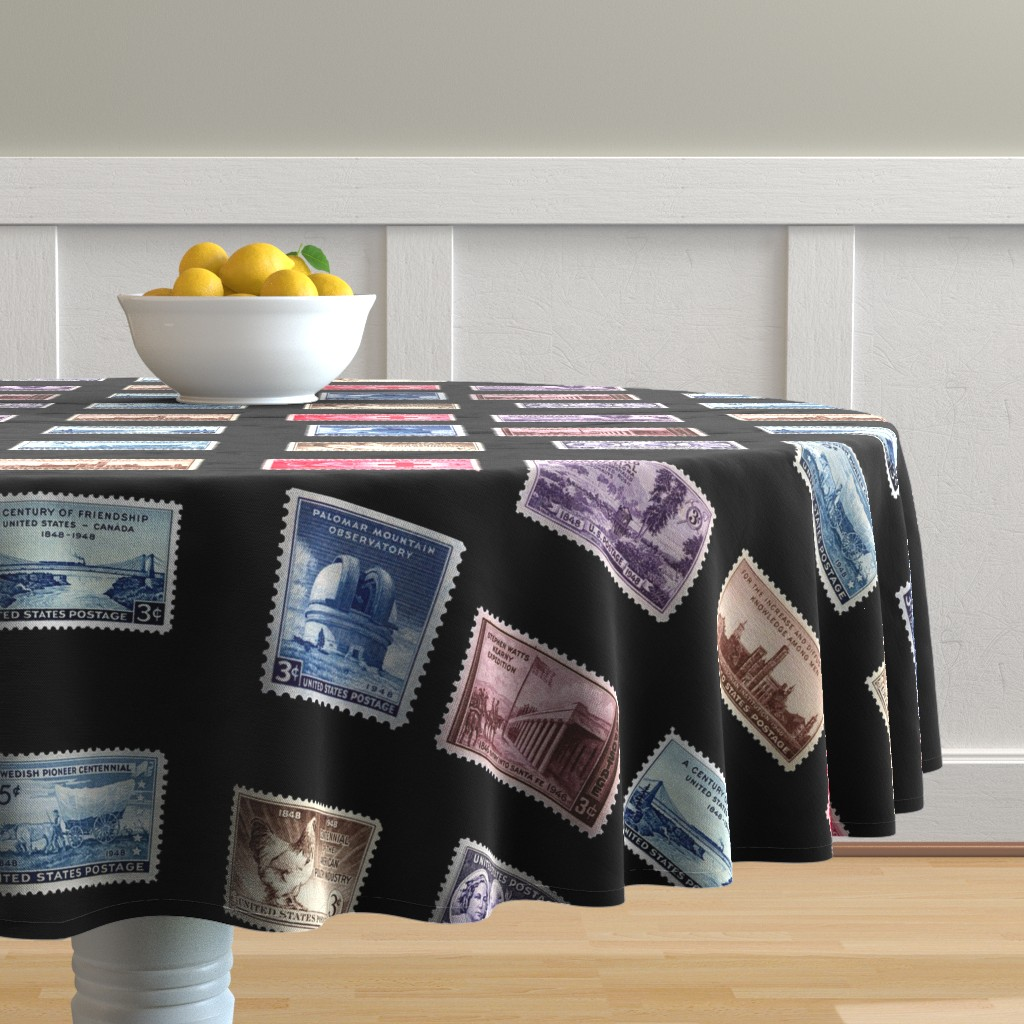 Malay Round Tablecloth featuring stamp fat quarter 3 by keweenawchris