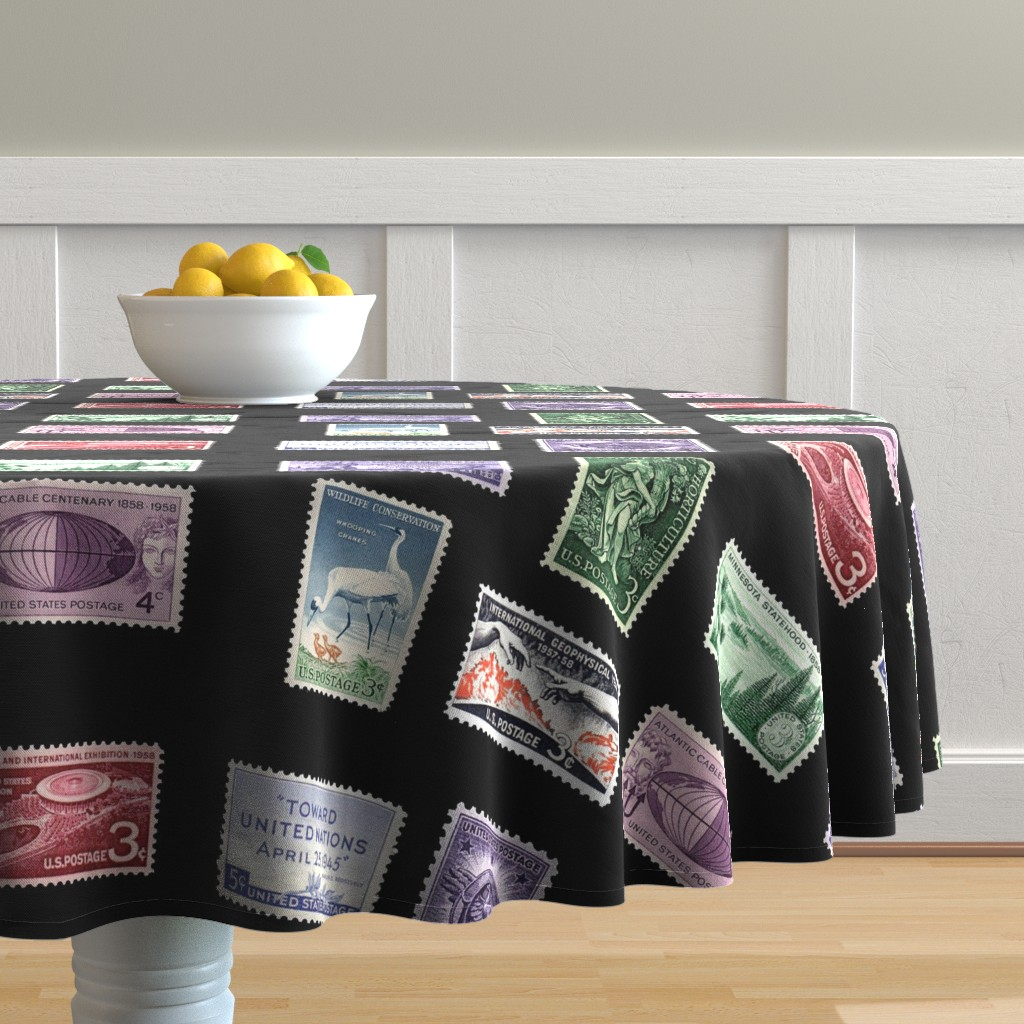Malay Round Tablecloth featuring stamp fat quarter 1 by keweenawchris