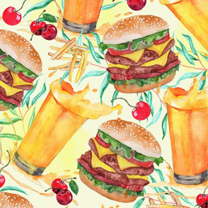 burgers juices and fries-large scale