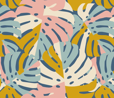 Color Block Monstera Leaves in Blue + Pink