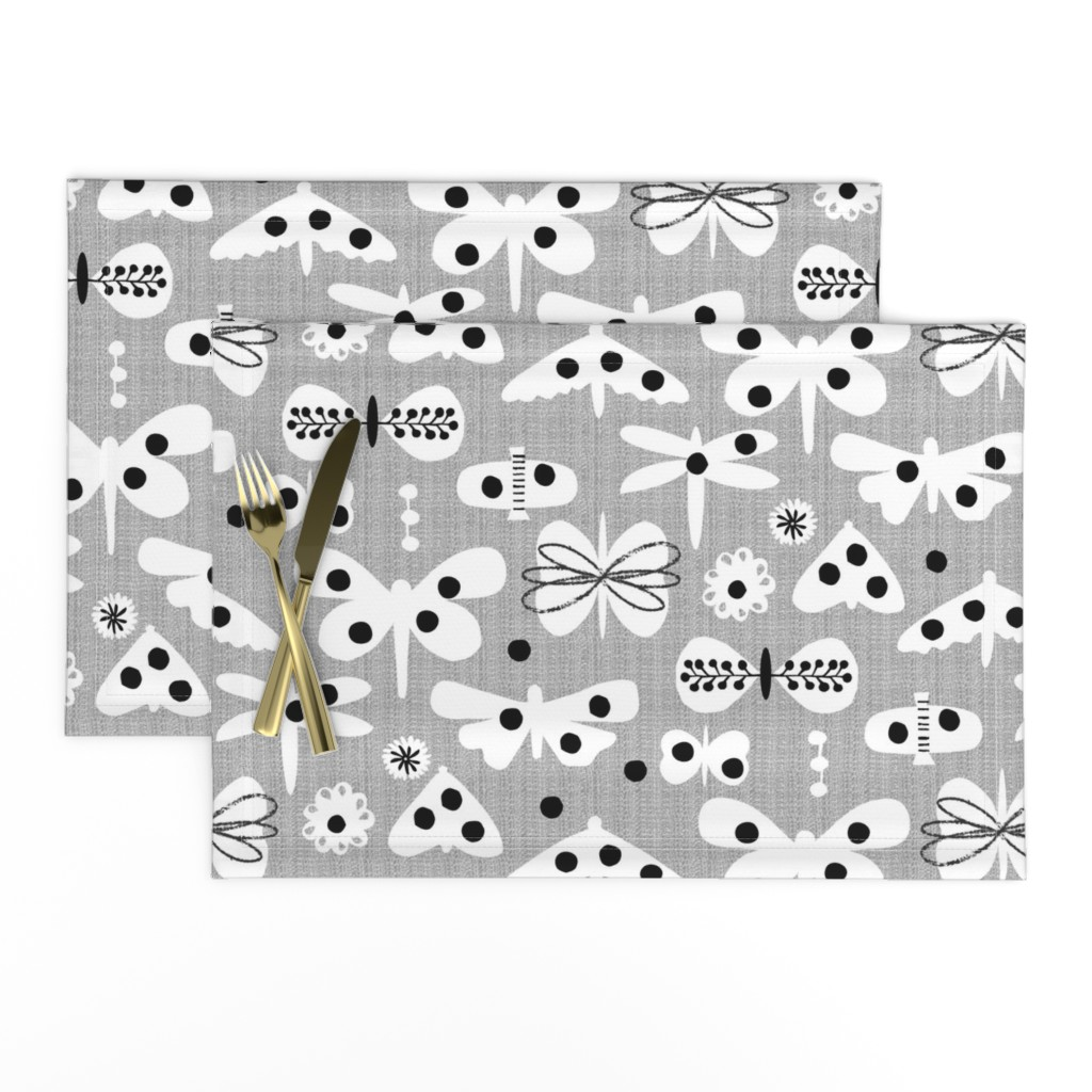 Lamona Cloth Placemats featuring Black and white and polka dot moths by ottomanbrim
