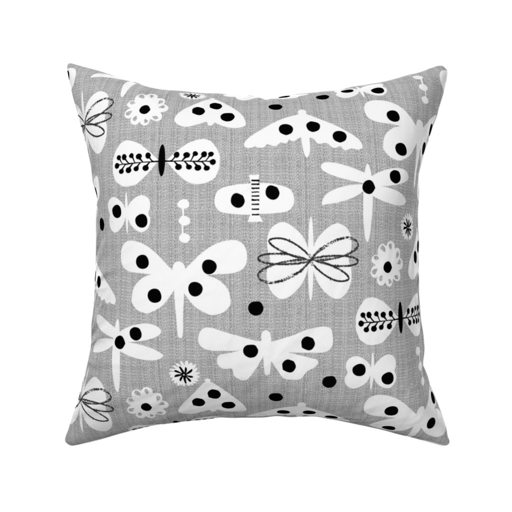 Catalan Throw Pillow featuring Black and white and polka dot moths by ottomanbrim