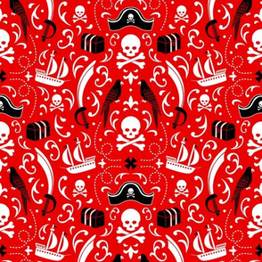 A Pirate's Life Damask (Red)