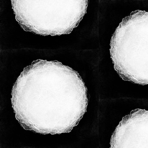 Giant White Polka Dot on Black
