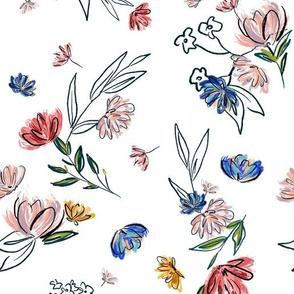 Hand-Drawn Spring Floral