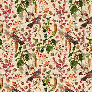 Winter Flora With Birds Pattern