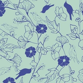 Garden birds and flowers in green and blue