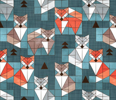 Normal scale // Blocked geometric foxes // teal background white grey orange and brown foxy animals