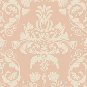 Elegant damask   rose gold